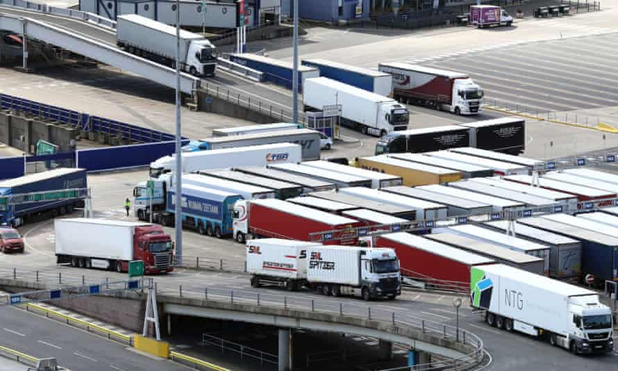 Lorries arriving at the port of Dover in Kent.