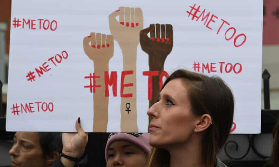 Victims of sexual harassment, sexual assault, sexual abuse and their supporters protest during a #MeToo march in Hollywood, California.