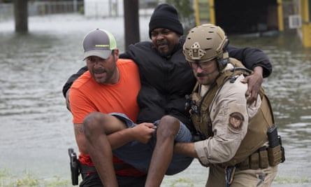 US CBP Air and Marine Operations aircrew evacuate stranded residents trapped by flood waters in the aftermath of Hurricane Harvey.