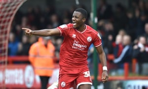 Bez Lubala, here celebrating after scoring for Crawley, could be a useful addition for Blackpool.