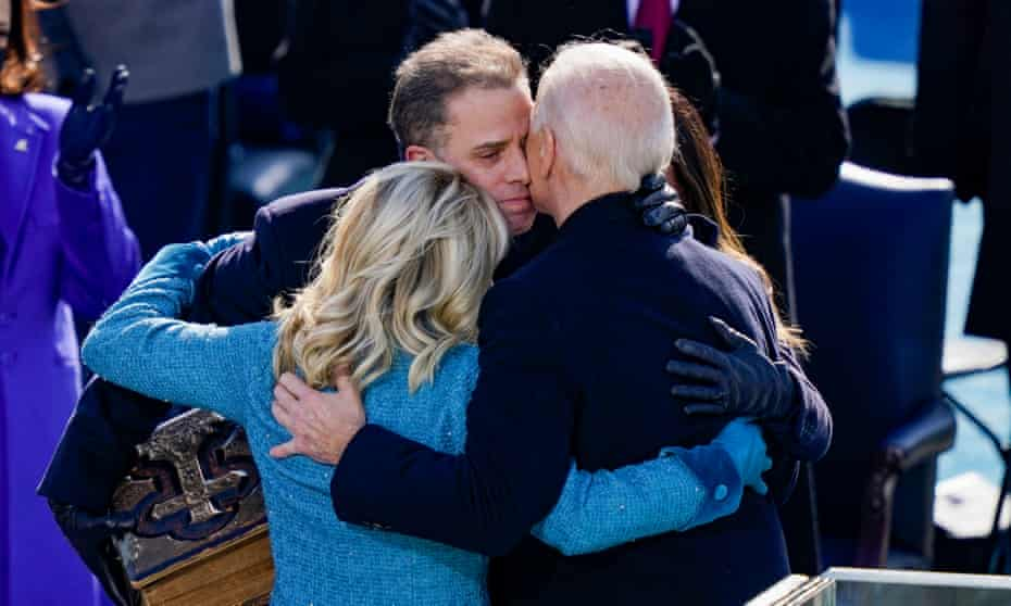 Joe Biden embraces his wife, Jill Biden, son Hunter and daughter Ashley after being sworn at the US Capitol in January.