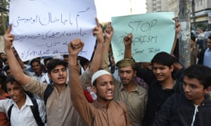 Students in Karachi demonstrate against the Taliban attack on Bacha Khan University