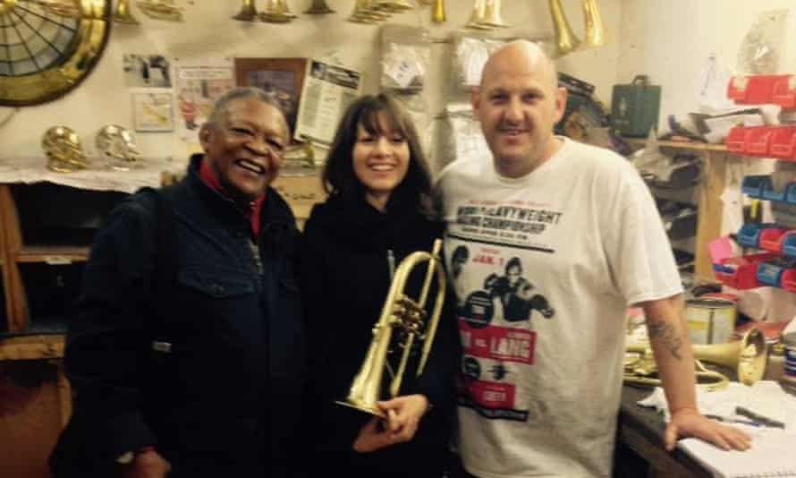 Hugh Masekela, Yazz Ahmed and master instrument maker Leigh Mckinney at Eclipse Trumpet factory