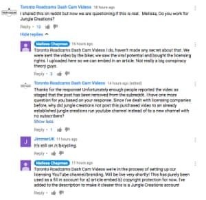 Screenshot of an exchange between someone who claims to be a Jungle Creations staffer and a sceptical YouTube user.