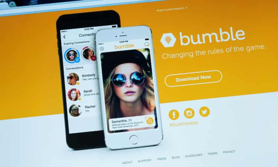 The website of Bumble, an online dating app.