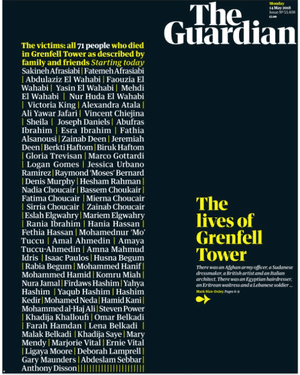 Guardian front page: 'The lives of Grenfell Tower'