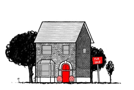 Illustration by David Foldvari of a house with a For Sale sign and a phallic doorway.