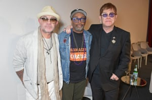Bernie Taupin, Spike Lee and Sir Elton John at the world premiere screening of The Cut. Sir Elton John and Bernie Taupin's classics reimagined in video, supported by YouTube