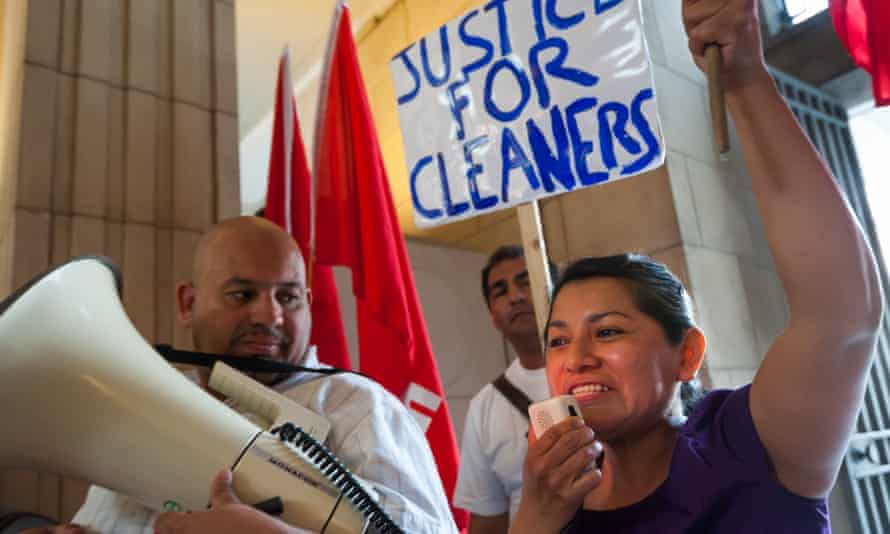 A protest by London University cleaners over sick pay, holidays and pensions for low-paid workers.