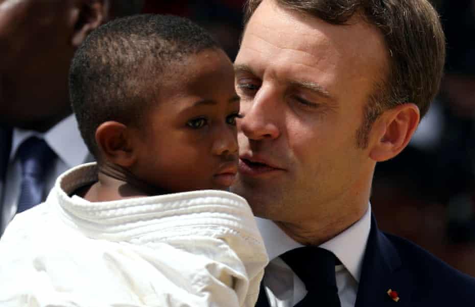 Emmanuel Macron during a 2019 visit to Ivory Coast