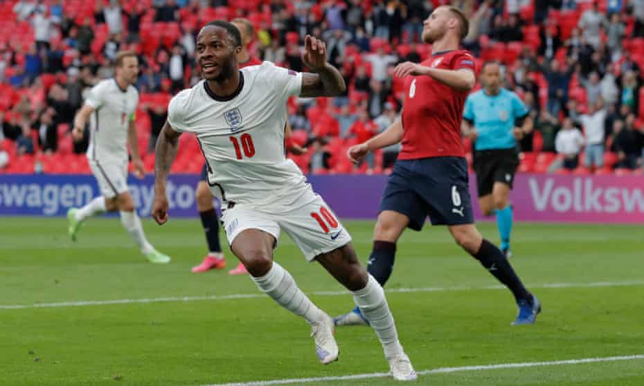 Raheem Sterling celebrates after scoring England's winner against the Czech Republic. He also got the only goal against Croatia.