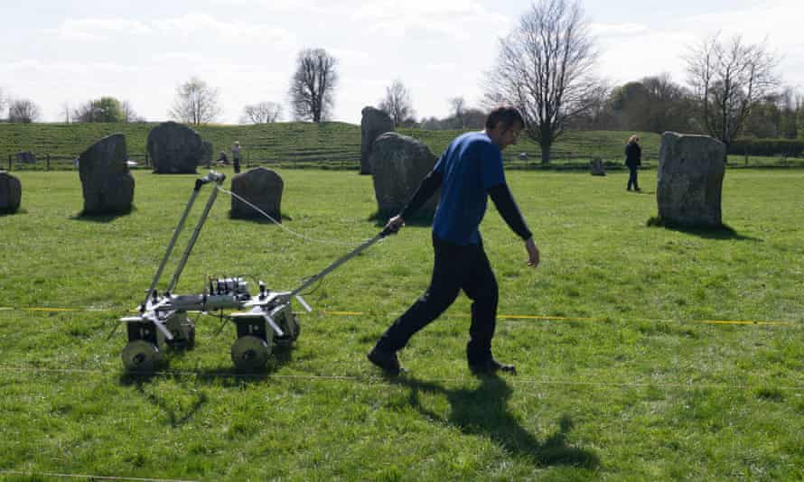 Soil resistance work is carried out by archaeologists from the University of Leicester at the stone circle site in Avebury.