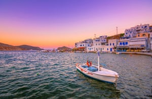 The old harbor of Panormos at sunset on Tinos island, Greece.