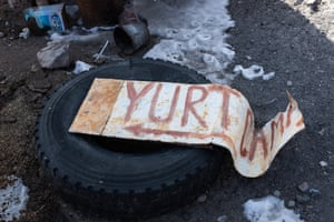 A sign indicates the yurt camp near Tulpar-Kel lake