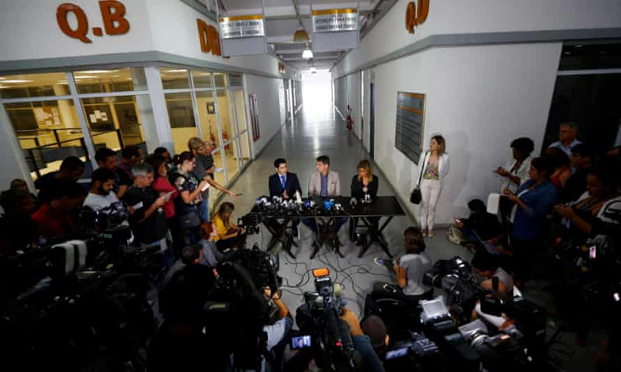 Rio de Janeiro police chiefs hold a news conference on the investigation into the alleged gang-rape of a teenage girl.