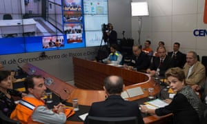 President Dilma Rousseff participates in a video conference about Zika and other mosquito-borne diseases at the National Center for Risk and Disaster Management in Brasília.