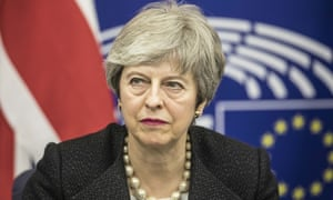 'Gracefully leaping the final obstacle?' … Theresa May in Strasbourg this week.