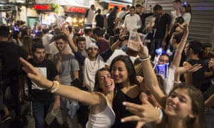Israelis dance during an independence day party in  Jerusalem, Israel