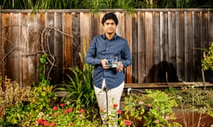 Portrait of Adarsh Ambati in the backyard of his family's home in San Jose, CA.