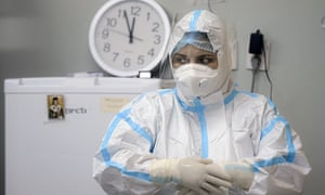 A member of the medical staff at the Covid unit of the Marius Nasta National Pneumology Institute in Bucharest, Romania. Daily coronavirus infections in Romania reached a record levels on Thursday prompting new restrictions.
