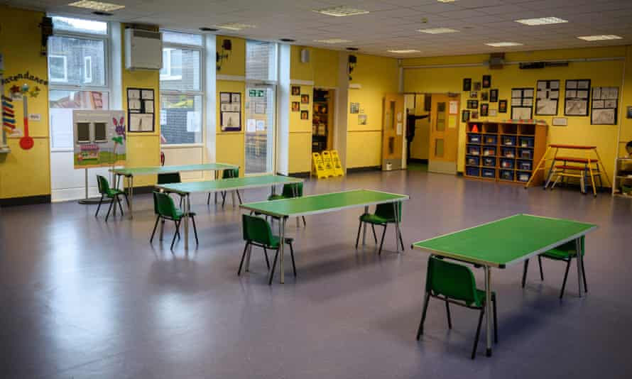 Socially distanced seating in a school