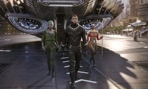 Lupita Nyong'o, Chadwick Boseman and Danai Gurira in Black Panther.