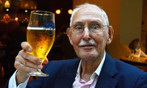JULY 24: Charles Eugster tucks into a healthy meal of salmon with capers and shrimp and a glass of draught cider at the Hyatt Regency Hotel, on 24 July, 2015, in Birmingham, England.