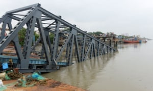 A collapsed jetty is pictured in Hatania Doania river after Cyclone Bulbul hit the eastern state of West Bengal, India.