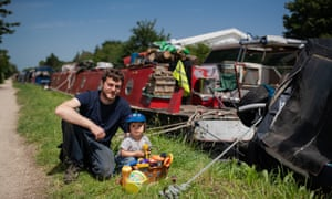 Marcus Trower, from the National Bargee Travellers Association, with his son, Cillian