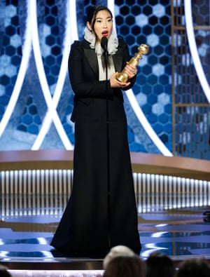 Awkwafina accepts the award for best actress in a musical or comedy for her role in The Farewell