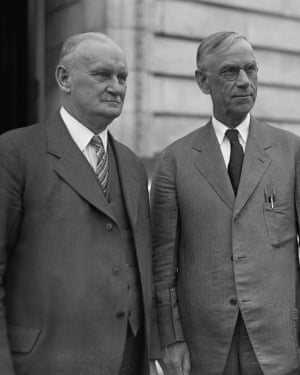 Willis Hawley (left) and Reed Smoot, co-sponsors of the Smoot-Hawley Tarrif Act of 1930