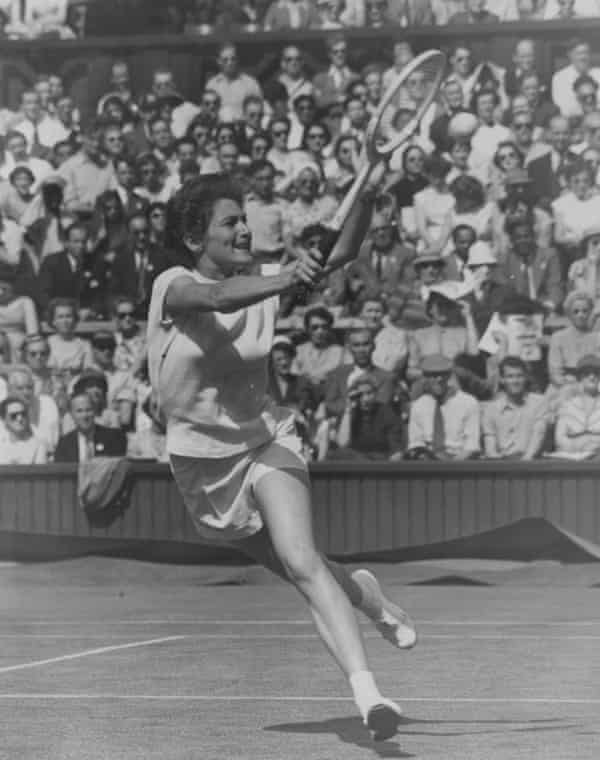 Angela Buxton in action in the singles at Wimbledon in 1956