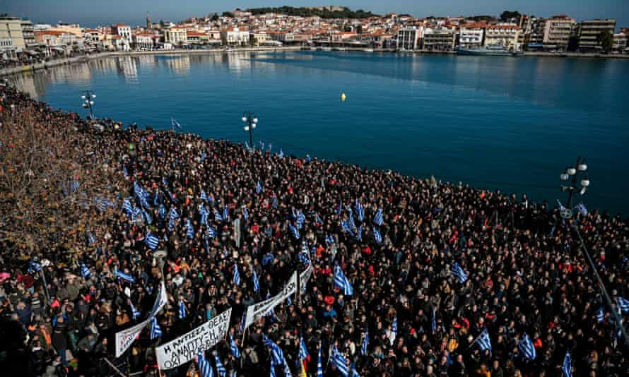 A protest against refugee camps on the island of Lesbos