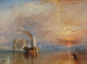 Um navio fantasma pálido puxado por um barco a vapor de metal ... O Temeraire Lutador.