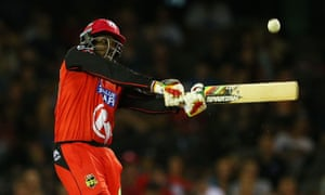 Chris Gayle hits a six during the Big Bash League match between the Melbourne Renegades and the Adelaide Strikers.