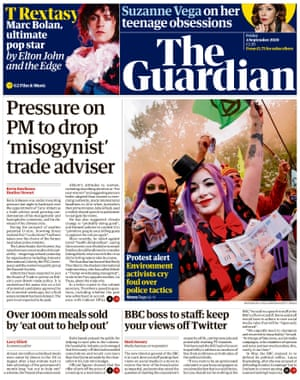Guardian front page, Friday 4 September 2020