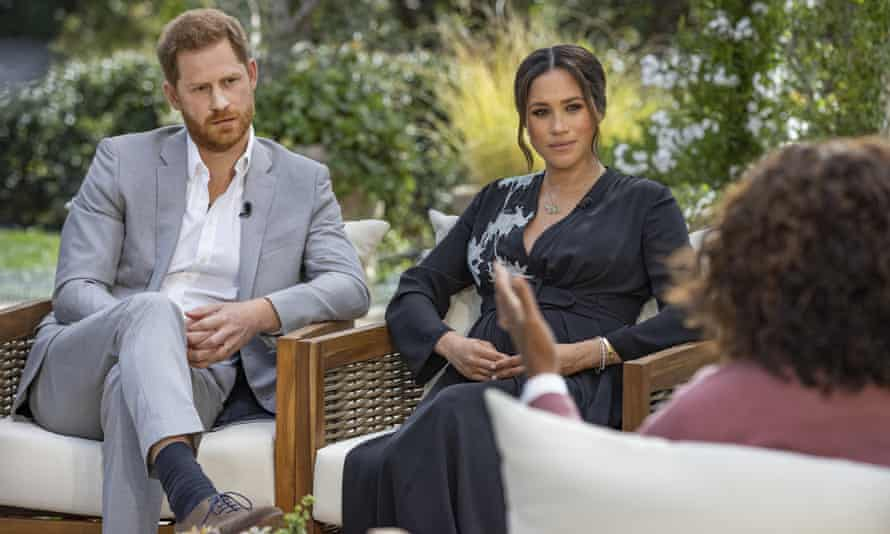 Harry and Meghan being interviewed by Oprah