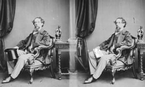 Two portraits of English novelist Charles Dickens taken in about 1860.