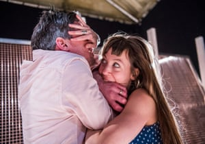 Ben Duke and Solène Weinachter as the lovers struggling to keep their dream alive in Juliet and Romeo at Battersea Arts Centre.