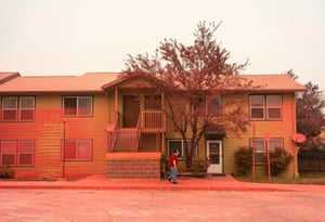 Fire retardant coats surfaces in a neighborhood largely destroyed by wildfire on September 13, 2020 in Talent, Oregon. Hundreds of homes in Talent and nearby towns have been lost due to wildfire.