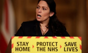 Priti Patel speaks during a media briefing on the pandemic