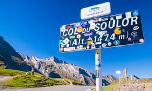 Sign at Col du Soulor pass in the French Pyrenees, France.