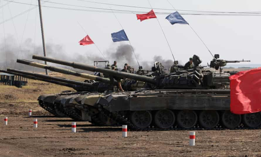 T-72 tanks on a joint military drills of the self-proclaimed Donetsk People's Republic forces and the Luhansk People's Republics forces