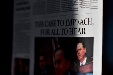 A Boston Globe front page with the headline THE CASE TO IMPEACH, FOR ALL TO HEAR posted at the Newseum on 13 November in Washington DC.