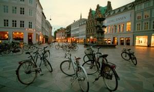 Bicycles at dusk in Stroget Street, Copenhagen.