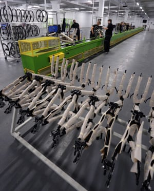 Bike frames at the factory