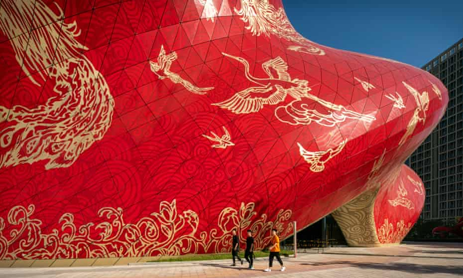 The Sunac Guangzhou Grand theatre by Steve Chilton Architects, a building designed to look like 'a swirl of red silk'.