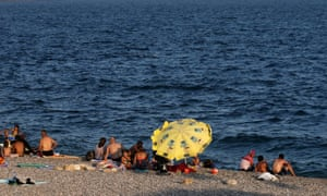 Holidaymakers on a beach in Turkey