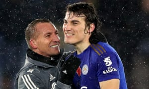 Whilst Leicester City manager Brendan Rodgers (left) and Caglar Soyuncu look rather please with the result.