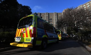 Ambulances outside the North Melbourne block this week